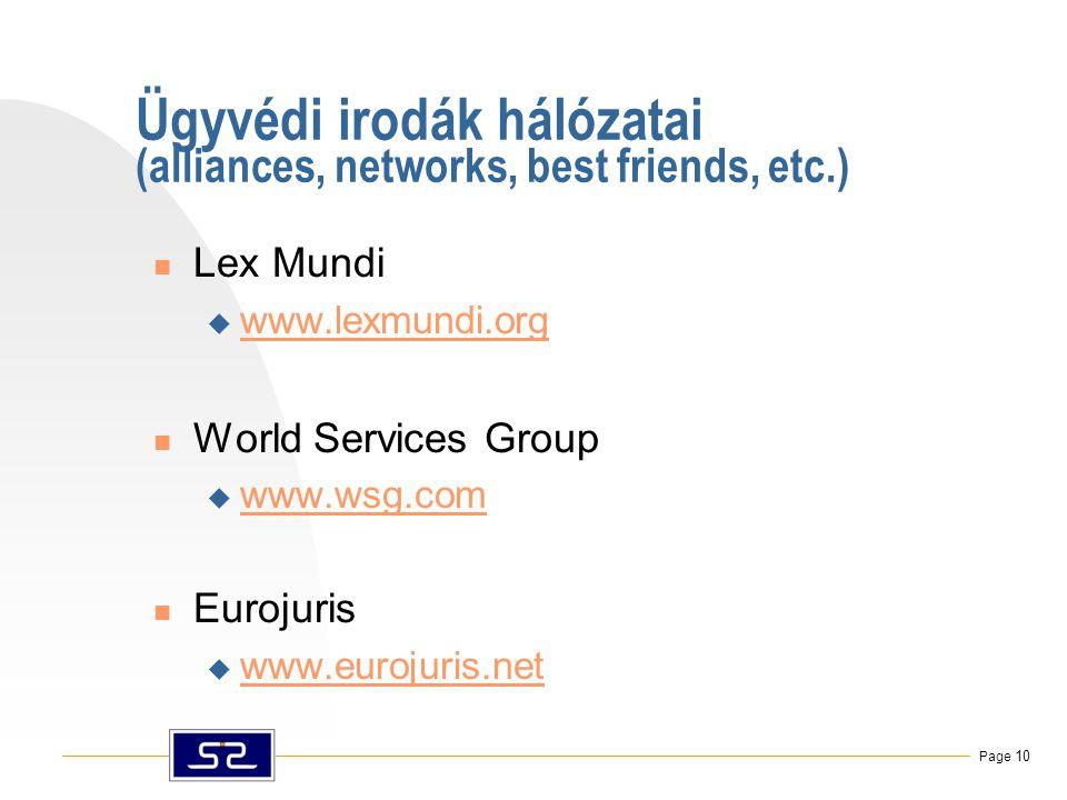 Page 10 Ügyvédi irodák hálózatai (alliances, networks, best friends, etc.)  Lex Mundi  www.lexmundi.org www.lexmundi.org  World Services Group  www.wsg.com www.wsg.com  Eurojuris  www.eurojuris.net www.eurojuris.net