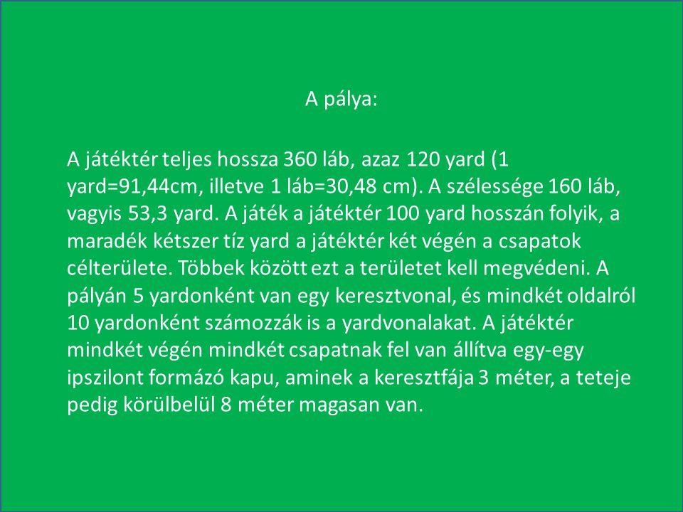 A pálya: A játéktér teljes hossza 360 láb, azaz 120 yard (1 yard=91,44cm, illetve 1 láb=30,48 cm).