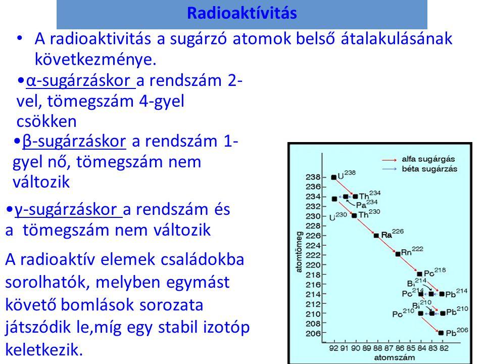 Radioaktívitás • A radioaktivitás a sugárzó atomok belső átalakulásának következménye. A radioaktív elemek családokba sorolhatók, melyben egymást köve