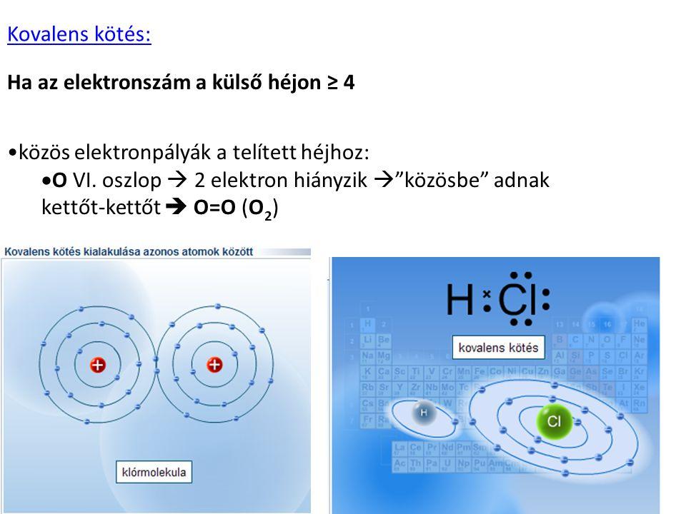 """•közös elektronpályák a telített héjhoz:  O VI. oszlop  2 elektron hiányzik  """"közösbe"""" adnak kettőt-kettőt  O=O (O 2 ) Kovalens kötés: Ha az elekt"""