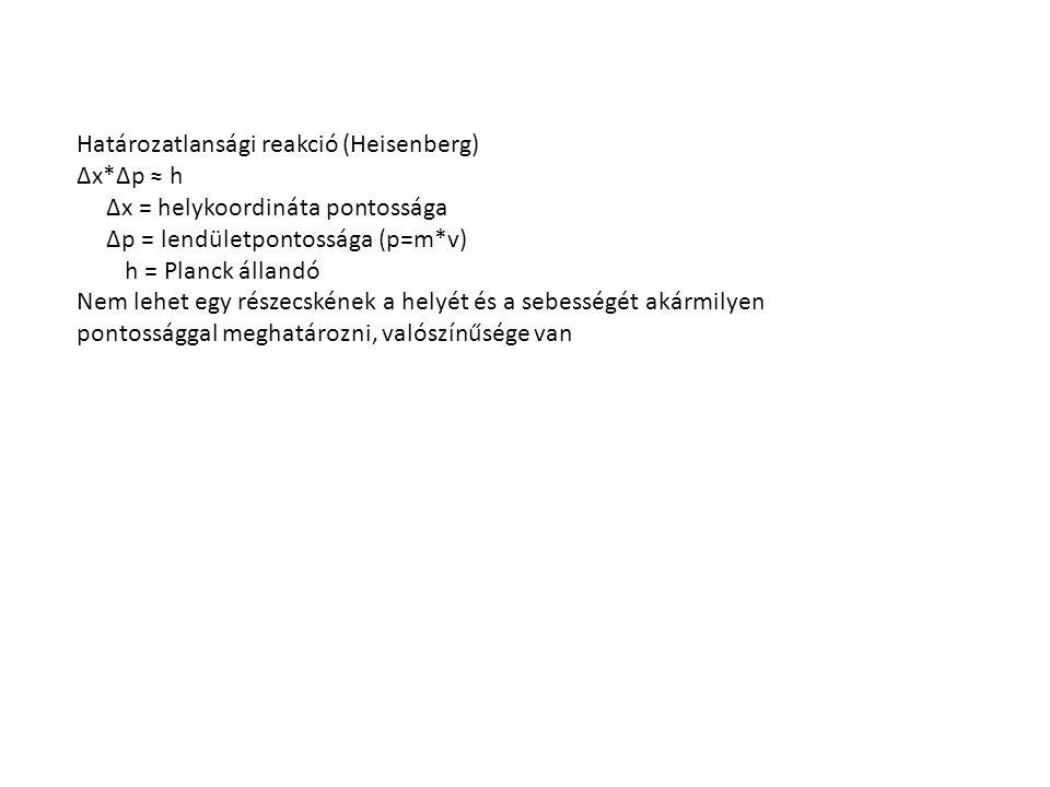 Határozatlansági reakció (Heisenberg) Δx*Δp ≈ h Δx = helykoordináta pontossága Δp = lendületpontossága (p=m*v) h = Planck állandó Nem lehet egy részec