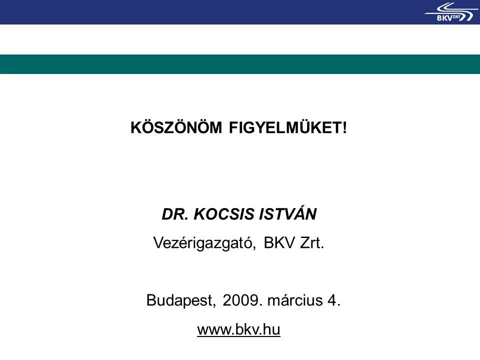 KÖSZÖNÖM FIGYELMÜKET! DR. KOCSIS ISTVÁN Vezérigazgató, BKV Zrt. Budapest, 2009. március 4. www.bkv.hu