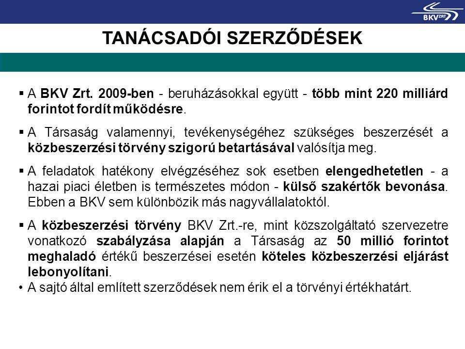  A BKV Zrt. 2009-ben - beruházásokkal együtt - több mint 220 milliárd forintot fordít működésre.  A Társaság valamennyi, tevékenységéhez szükséges b