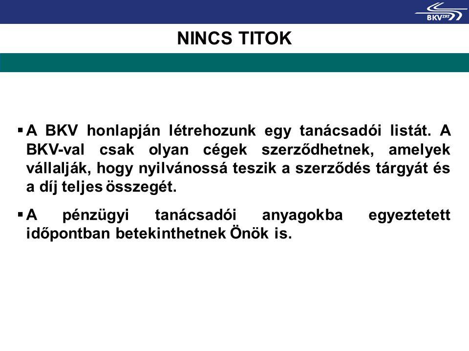 NINCS TITOK  A BKV honlapján létrehozunk egy tanácsadói listát. A BKV-val csak olyan cégek szerződhetnek, amelyek vállalják, hogy nyilvánossá teszik