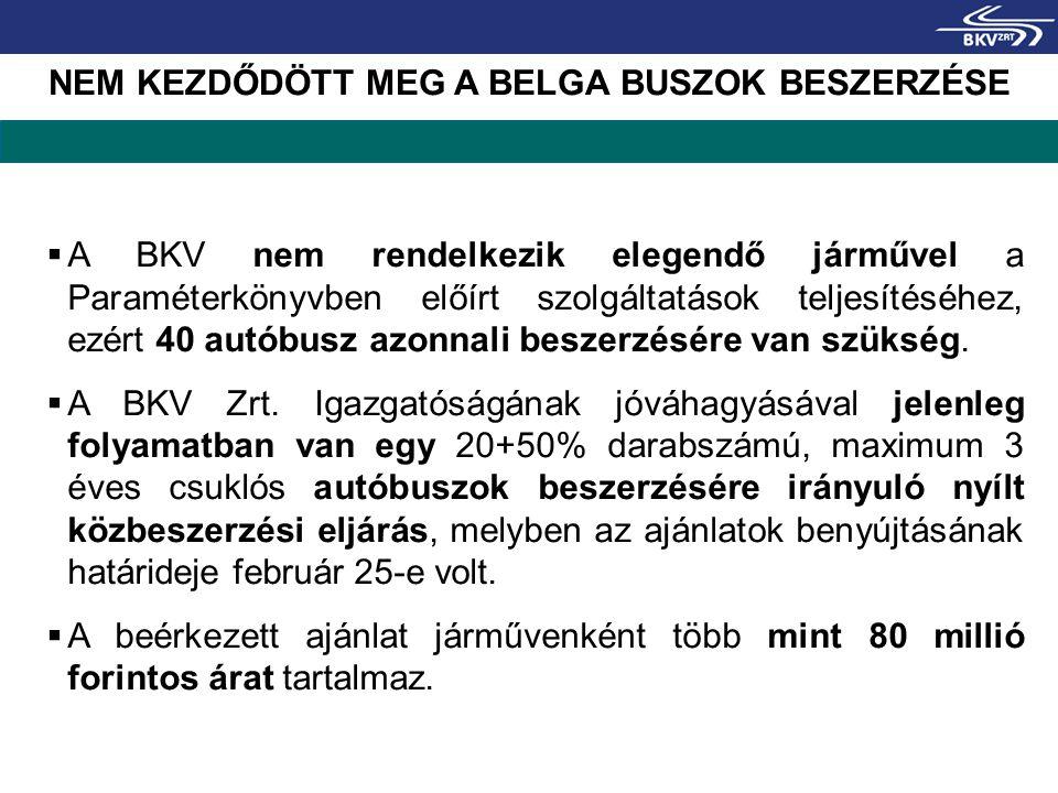 NEM KEZDŐDÖTT MEG A BELGA BUSZOK BESZERZÉSE  A BKV nem rendelkezik elegendő járművel a Paraméterkönyvben előírt szolgáltatások teljesítéséhez, ezért 40 autóbusz azonnali beszerzésére van szükség.