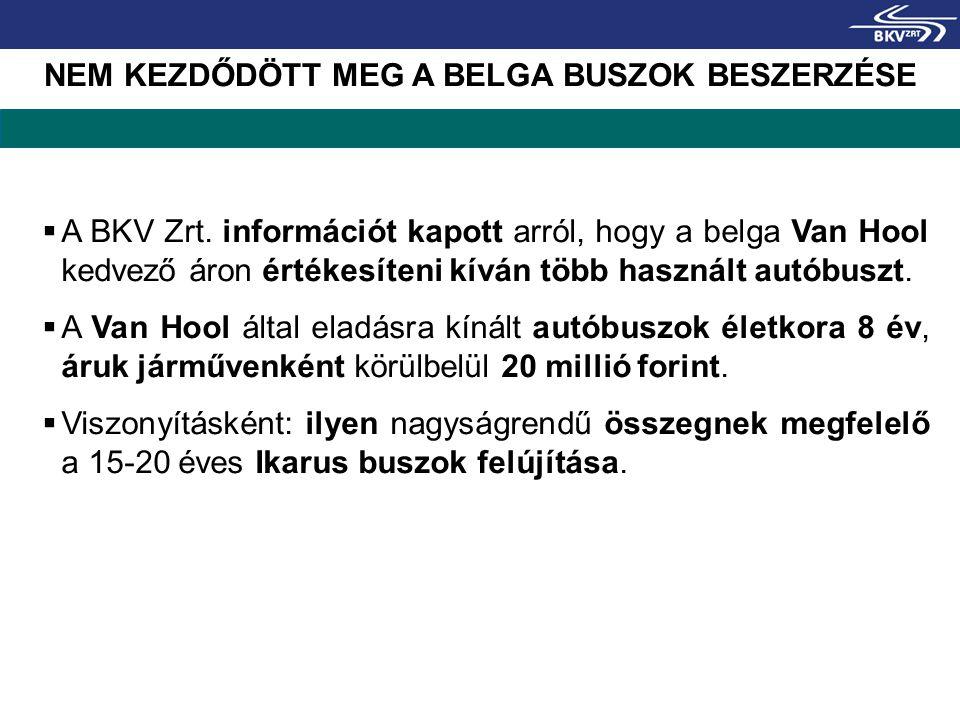 NEM KEZDŐDÖTT MEG A BELGA BUSZOK BESZERZÉSE  A BKV Zrt. információt kapott arról, hogy a belga Van Hool kedvező áron értékesíteni kíván több használt