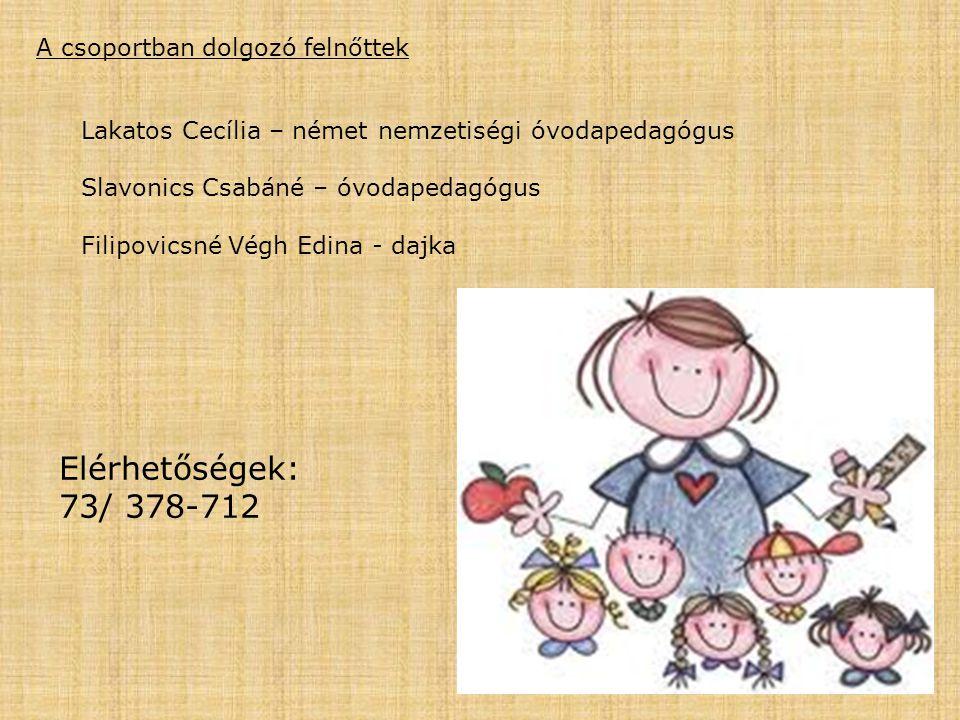A csoportban dolgozó felnőttek Lakatos Cecília – német nemzetiségi óvodapedagógus Slavonics Csabáné – óvodapedagógus Filipovicsné Végh Edina - dajka E