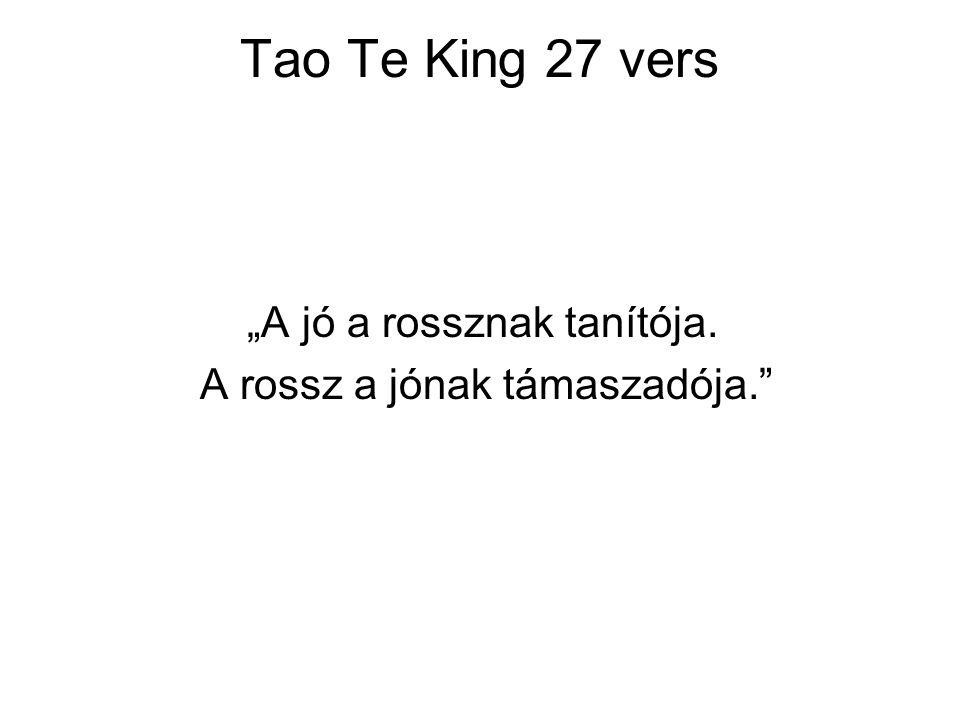 """Tao Te King 27 vers """"A jó a rossznak tanítója. A rossz a jónak támaszadója."""