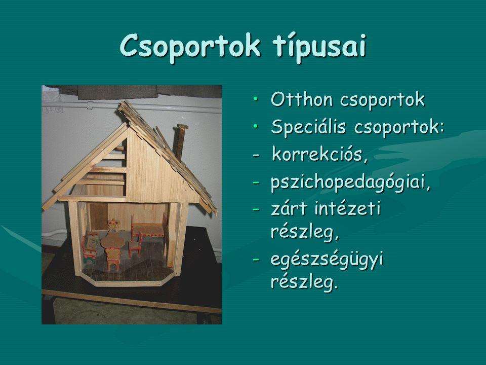 Csoportok típusai •Otthon csoportok •Speciális csoportok: - korrekciós, -pszichopedagógiai, -zárt intézeti részleg, -egészségügyi részleg.