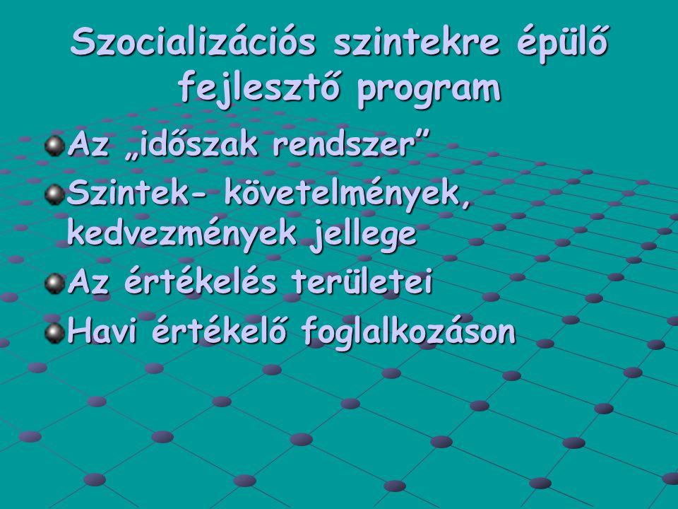 """Szocializációs szintekre épülő fejlesztő program Az """"időszak rendszer Szintek- követelmények, kedvezmények jellege Az értékelés területei Havi értékelő foglalkozáson"""