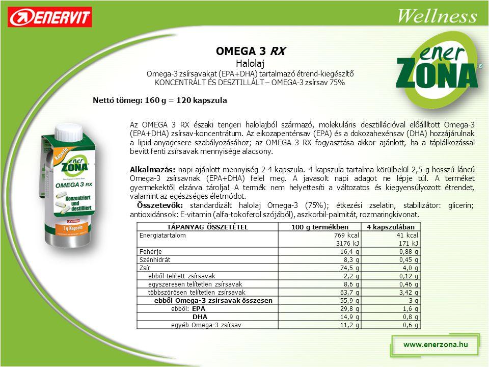 www.enerzona.hu OMEGA 3 RX Halolaj Omega-3 zsírsavakat (EPA+DHA) tartalmazó étrend-kiegészítő KONCENTRÁLT ÉS DESZTILLÁLT – OMEGA-3 zsírsav 75% Az OMEGA 3 RX északi tengeri halolajból származó, molekuláris desztillációval előállított Omega-3 (EPA+DHA) zsírsav-koncentrátum.