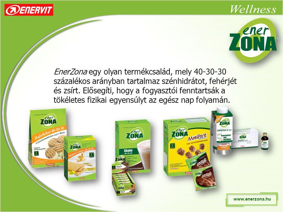 EnerZona egy olyan termékcsalád, mely 40-30-30 százalékos arányban tartalmaz szénhidrátot, fehérjét és zsírt.