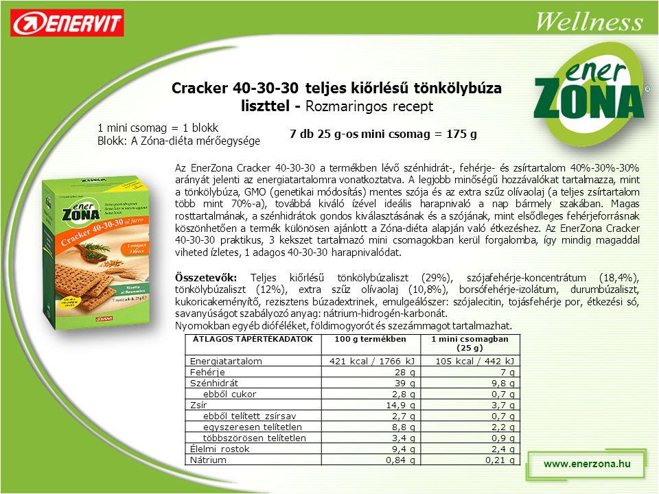 www.enerzona.hu Cracker 40-30-30 teljes kiőrlésű tönkölybúza liszttel - Rozmaringos recept 1 mini csomag = 1 blokk Blokk: A Zóna-diéta mérőegysége Az EnerZona Cracker 40-30-30 a termékben lévő szénhidrát-, fehérje- és zsírtartalom 40%-30%-30% arányát jelenti az energiatartalomra vonatkoztatva.