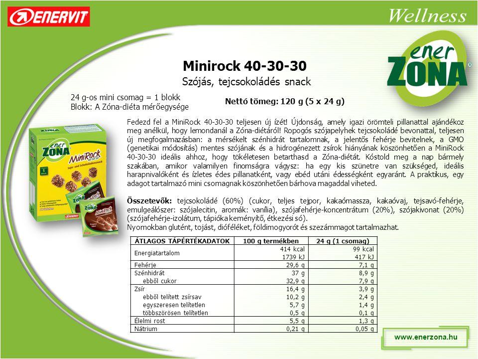 www.enerzona.hu Minirock 40-30-30 Szójás, tejcsokoládés snack 24 g-os mini csomag = 1 blokk Blokk: A Zóna-diéta mérőegysége Fedezd fel a MiniRock 40-30-30 teljesen új ízét.