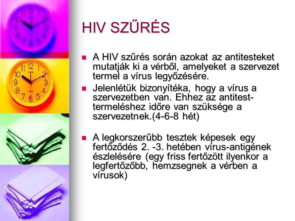 HIV SZŰRÉS  A HIV szűrés során azokat az antitesteket mutatják ki a vérből, amelyeket a szervezet termel a vírus legyőzésére.  Jelenlétük bizonyíték