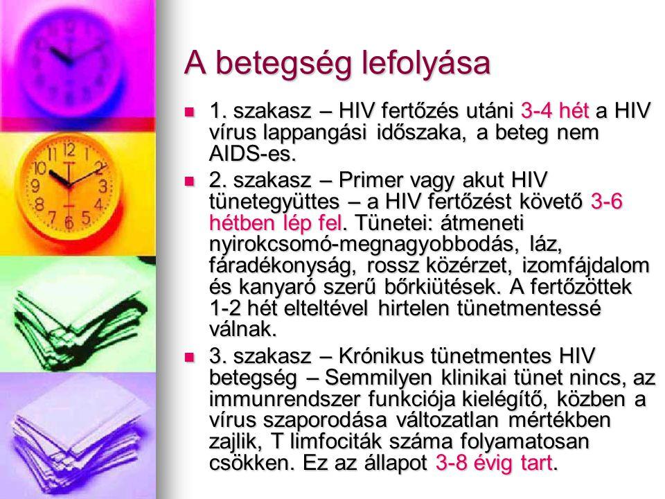 A betegség lefolyása  1. szakasz – HIV fertőzés utáni 3-4 hét a HIV vírus lappangási időszaka, a beteg nem AIDS-es.  2. szakasz – Primer vagy akut H