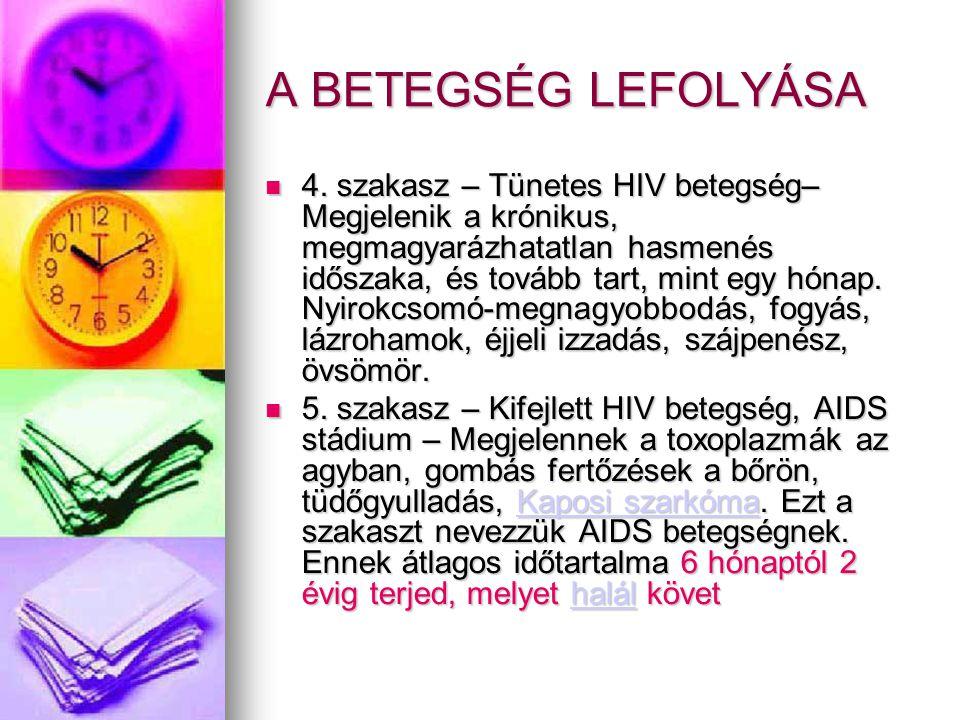 A BETEGSÉG LEFOLYÁSA  4. szakasz – Tünetes HIV betegség– Megjelenik a krónikus, megmagyarázhatatlan hasmenés időszaka, és tovább tart, mint egy hónap