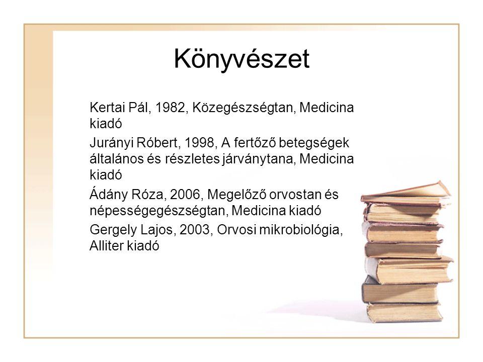 Könyvészet  Kertai Pál, 1982, Közegészségtan, Medicina kiadó  Jurányi Róbert, 1998, A fertőző betegségek általános és részletes járványtana, Medicin