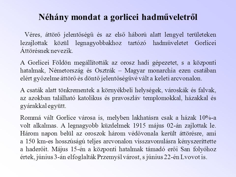 Néhány mondat a gorlicei hadműveletről Véres, áttörő jelentőségű és az első háború alatt lengyel területeken lezajlottak közül legnagyobbakhoz tartózó