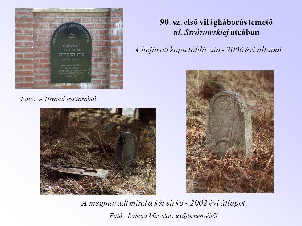 90. sz. első világháborús temető ul. Stróżowskiej utcában A bejárati kapu táblázata - 2006 évi állapot A megmaradt mind a két sírkő - 2002 évi állapot