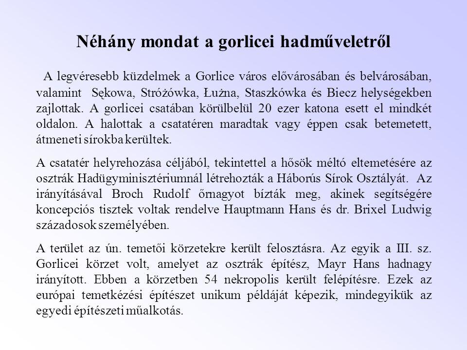 Néhány mondat a gorlicei hadműveletről A legvéresebb küzdelmek a Gorlice város elővárosában és belvárosában, valamint Sękowa, Stróżówka, Łużna, Staszk