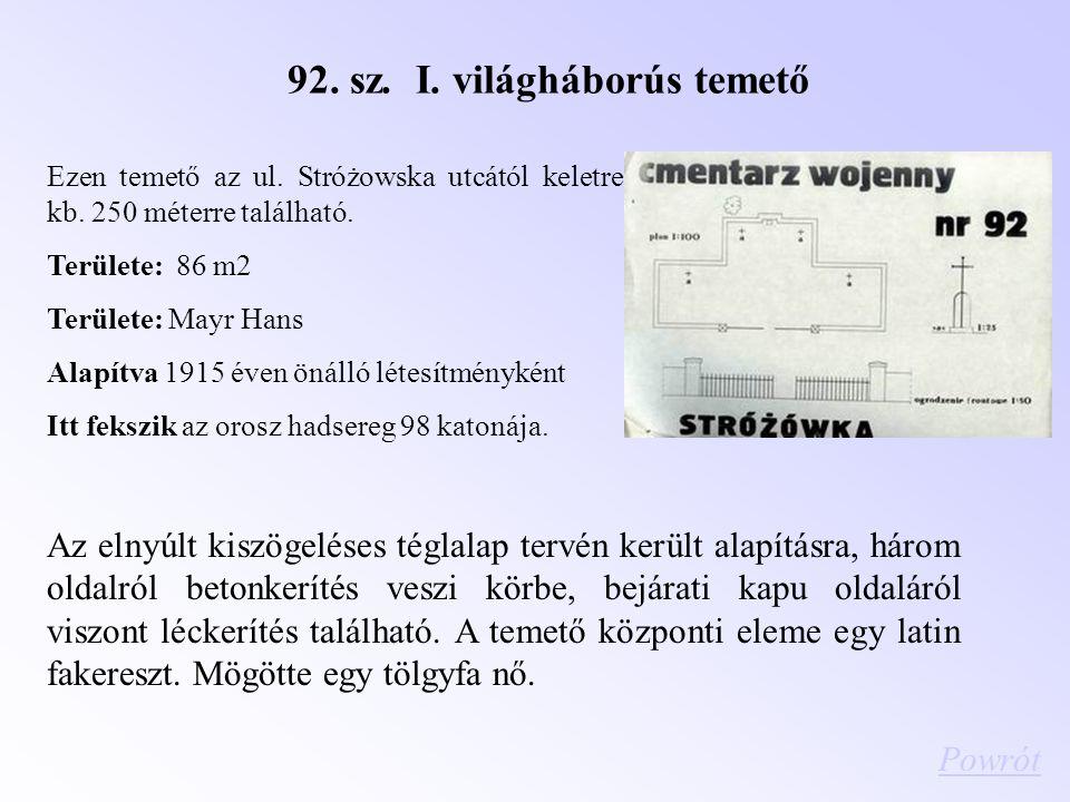 92. sz. I. világháborús temető Ezen temető az ul. Stróżowska utcától keletre kb. 250 méterre található. Területe: 86 m2 Területe: Mayr Hans Alapítva 1