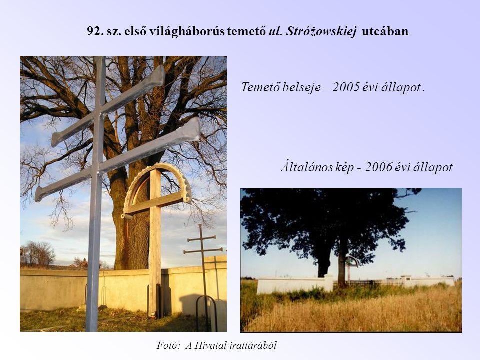 92. sz. első világháborús temető ul. Stróżowskiej utcában Temető belseje – 2005 évi állapot. Általános kép - 2006 évi állapot Fotó: A Hivatal irattárá