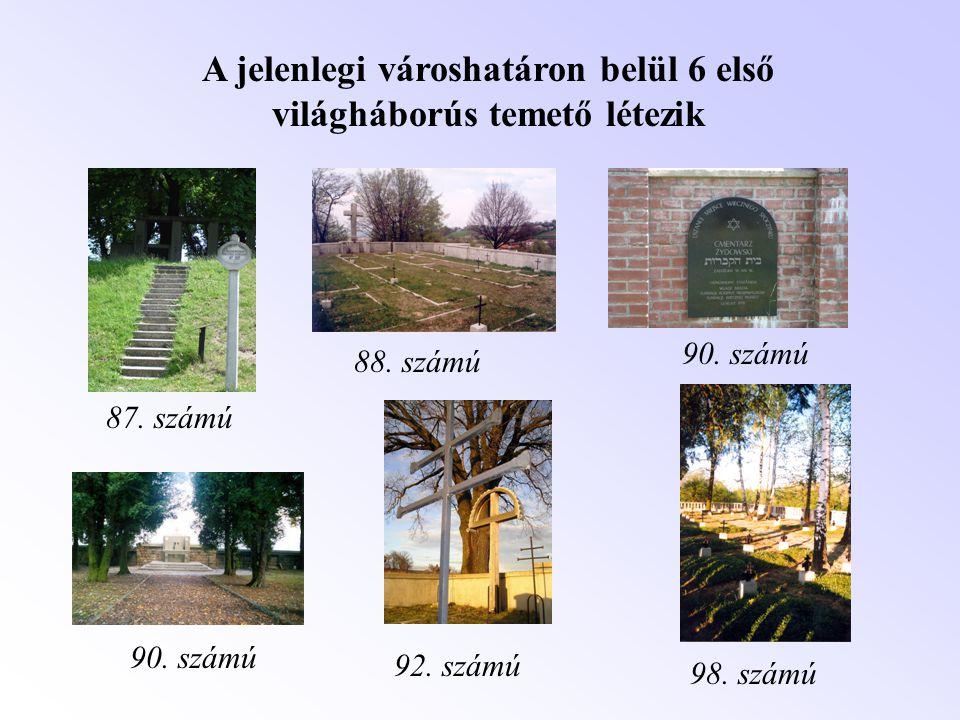 87. számú 88. számú 90. számú 98. számú 92. számú A jelenlegi városhatáron belül 6 első világháborús temető létezik