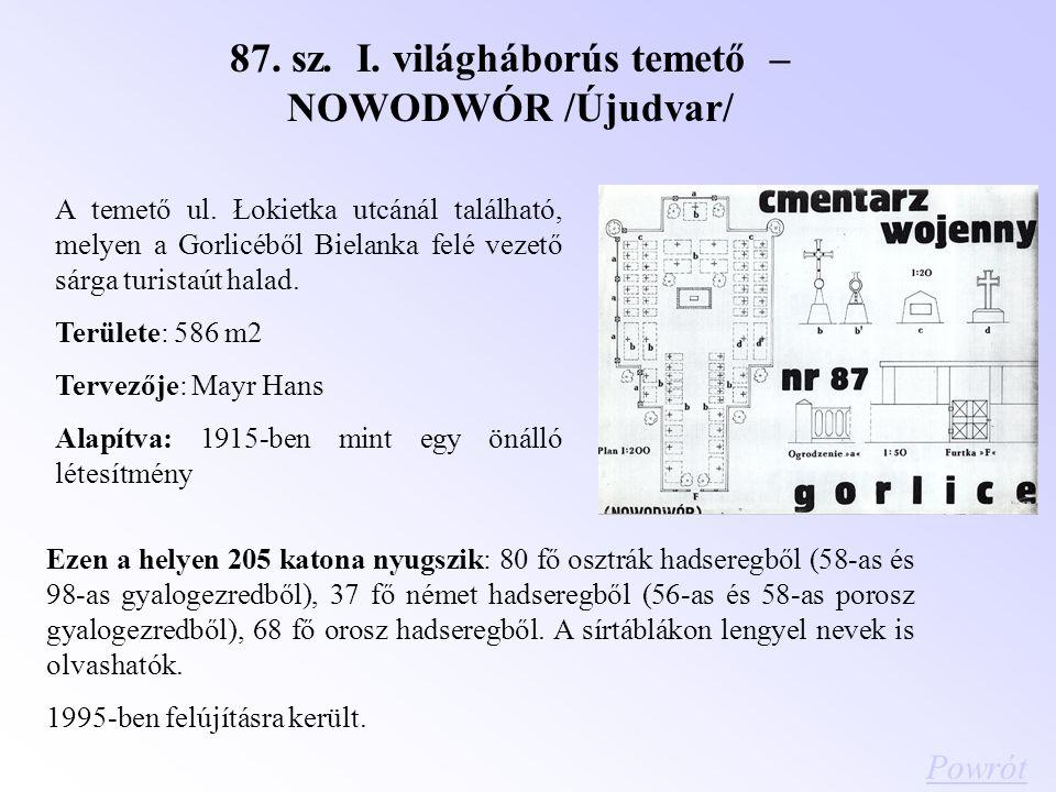 87. sz. I. világháborús temető – NOWODWÓR /Újudvar/ A temető ul. Łokietka utcánál található, melyen a Gorlicéből Bielanka felé vezető sárga turistaút
