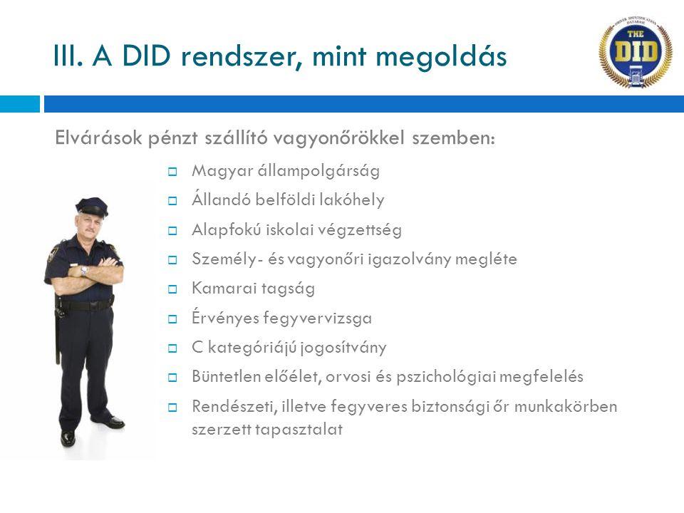 Elvárások pénzt szállító vagyonőrökkel szemben: III. A DID rendszer, mint megoldás  Magyar állampolgárság  Állandó belföldi lakóhely  Alapfokú isko