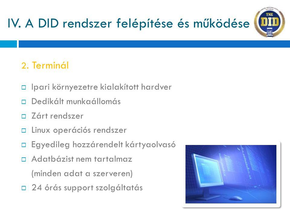 IV. A DID rendszer felépítése és működése  Ipari környezetre kialakított hardver  Dedikált munkaállomás  Zárt rendszer  Linux operációs rendszer 