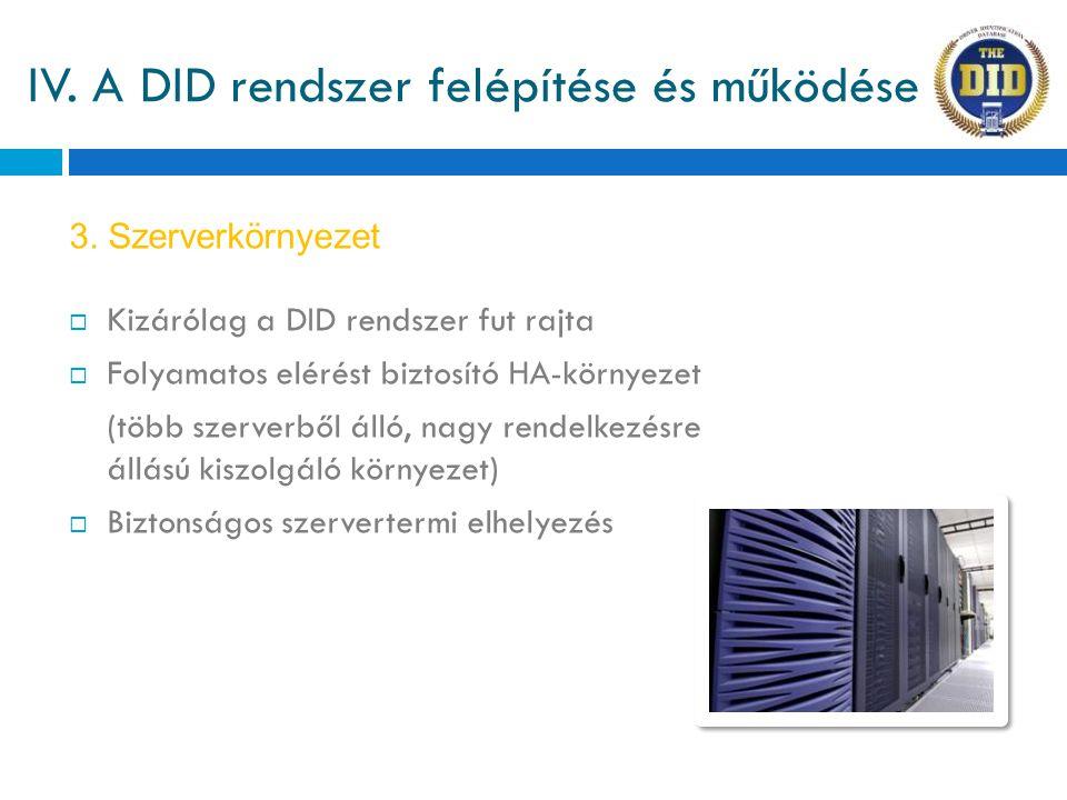 IV. A DID rendszer felépítése és működése  Kizárólag a DID rendszer fut rajta  Folyamatos elérést biztosító HA-környezet (több szerverből álló, nagy