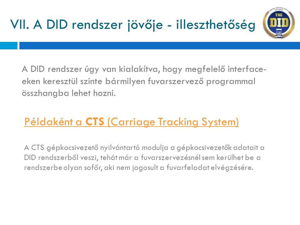 VII. A DID rendszer jövője - illeszthetőség Példaként a CTS (Carriage Tracking System) A DID rendszer úgy van kialakítva, hogy megfelelő interface- ek