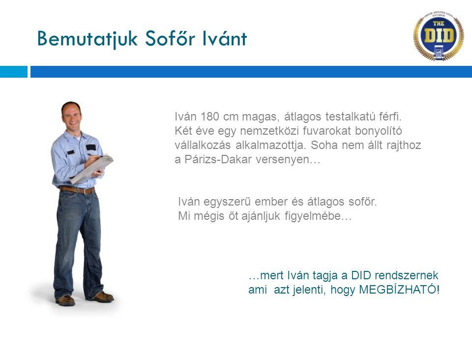 Bemutatjuk Sofőr Ivánt Iván 180 cm magas, átlagos testalkatú férfi. Két éve egy nemzetközi fuvarokat bonyolító vállalkozás alkalmazottja. Soha nem áll