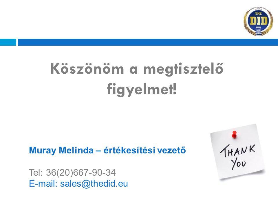 Köszönöm a megtisztelő figyelmet! Muray Melinda – értékesítési vezető Tel: 36(20)667-90-34 E-mail: sales@thedid.eu