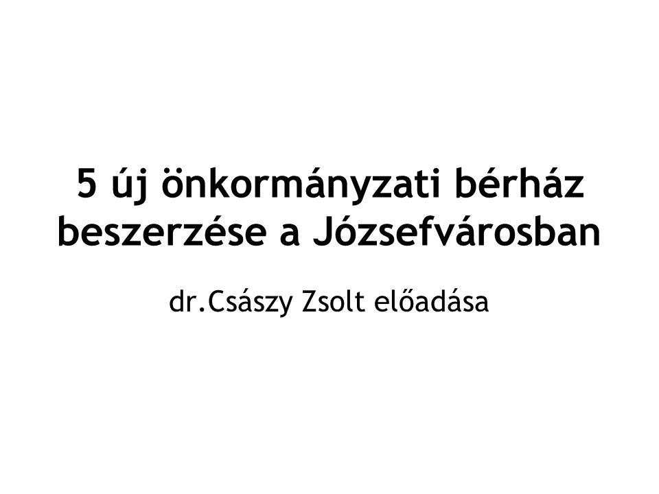 5 új önkormányzati bérház beszerzése a Józsefvárosban •A Rév8 Zrt 1997-ben alakult, tulajdonosai a Budapest Józsefvárosi Önkormányzat és a Budapest Fővárosi Önkormányzat.