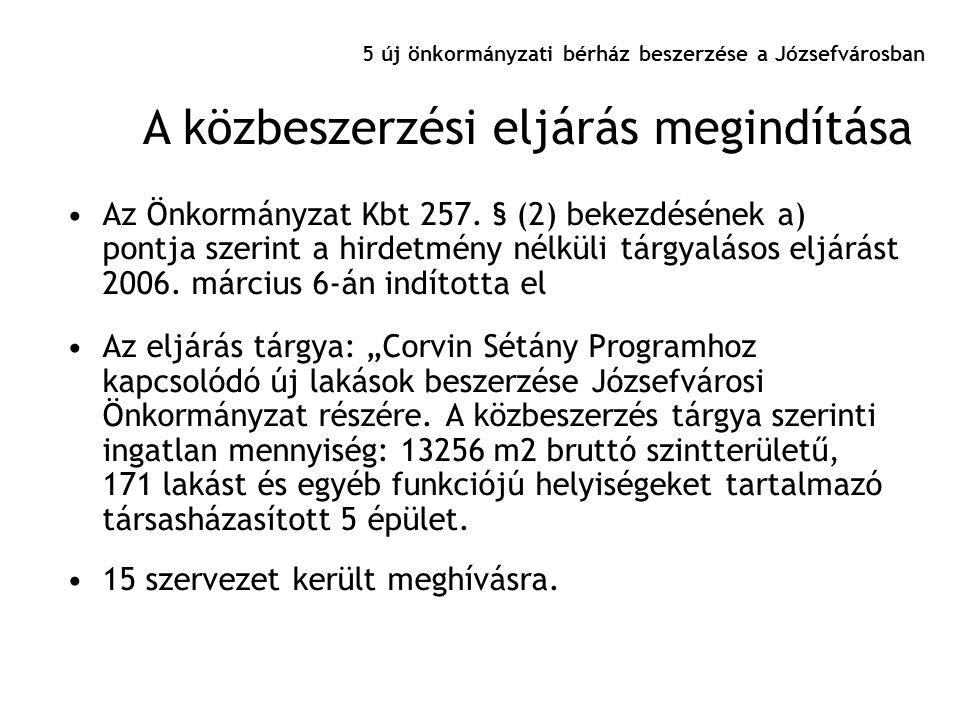 5 új önkormányzati bérház beszerzése a Józsefvárosban •Az Önkormányzat Kbt 257. § (2) bekezdésének a) pontja szerint a hirdetmény nélküli tárgyalásos