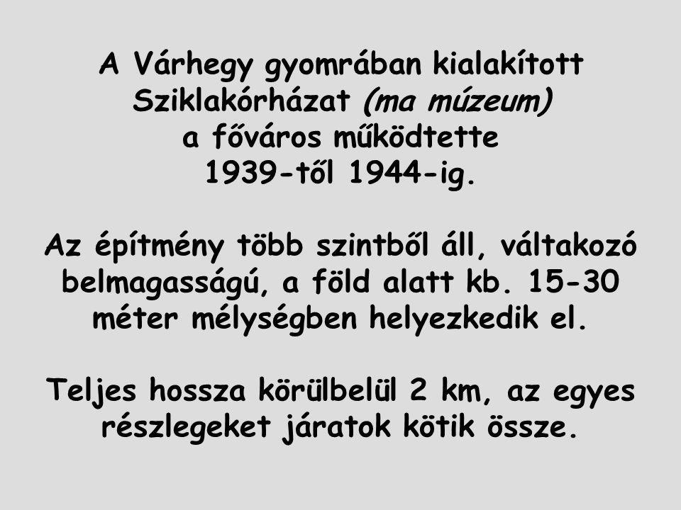 A Várhegy gyomrában kialakított Sziklakórházat (ma múzeum) a főváros működtette 1939-től 1944-ig. Az építmény több szintből áll, váltakozó belmagasság