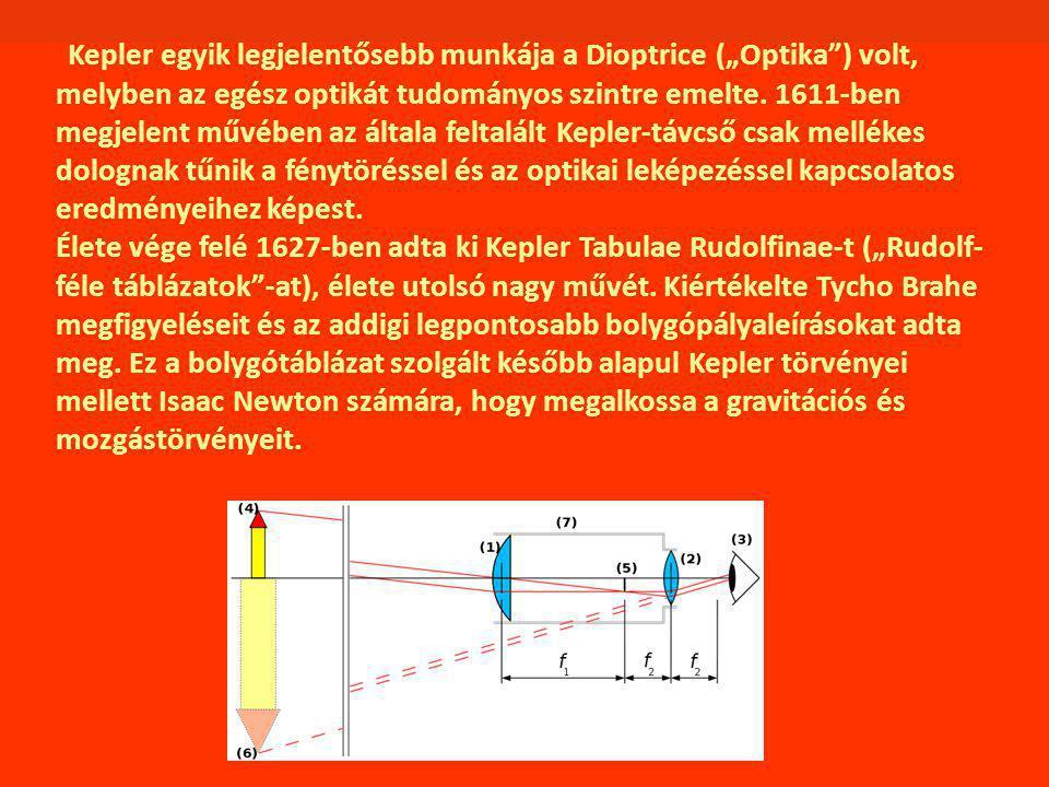 """Kepler egyik legjelentősebb munkája a Dioptrice (""""Optika ) volt, melyben az egész optikát tudományos szintre emelte."""