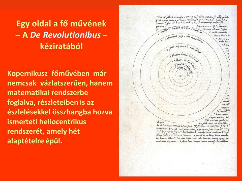 Egy oldal a fő művének – A De Revolutionibus – kéziratából Kopernikusz főművében már nemcsak vázlatszerűen, hanem matematikai rendszerbe foglalva, részleteiben is az észlelésekkel összhangba hozva ismerteti heliocentrikus rendszerét, amely hét alaptételre épül.
