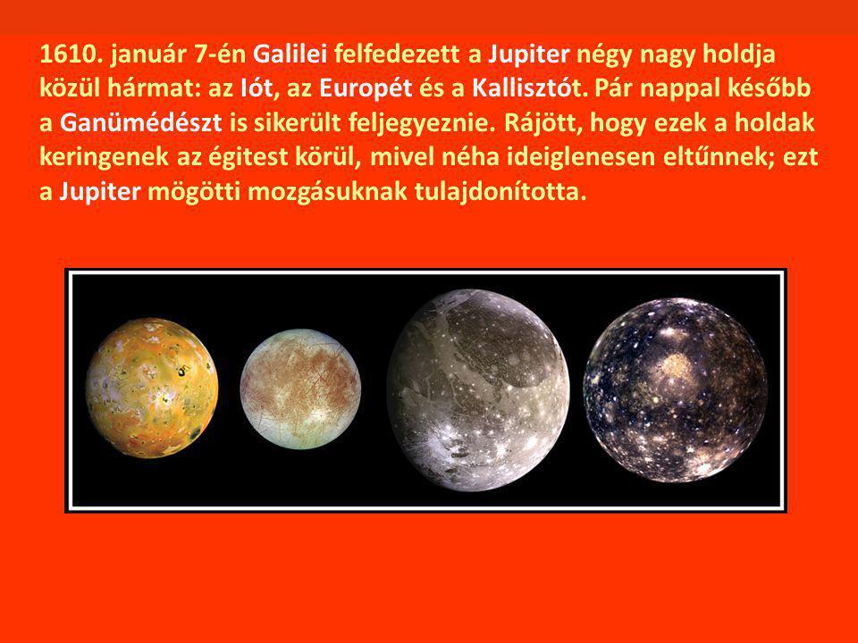 1610. január 7-én Galilei felfedezett a Jupiter négy nagy holdja közül hármat: az Iót, az Europét és a Kallisztót. Pár nappal később a Ganümédészt is