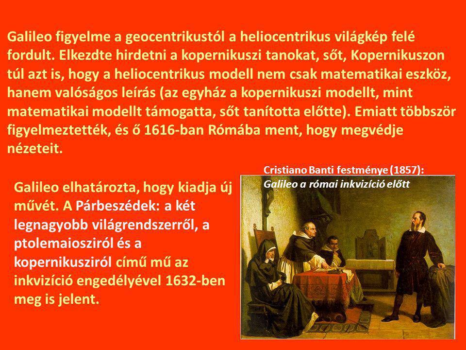 Galileo figyelme a geocentrikustól a heliocentrikus világkép felé fordult.