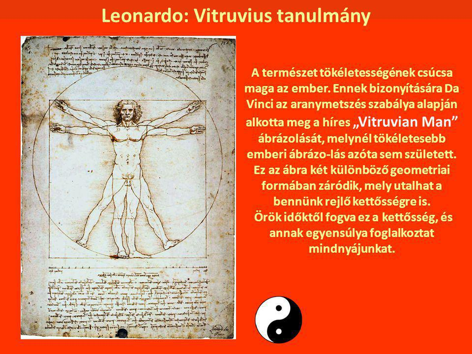 Leonardo: Vitruvius tanulmány A természet tökéletességének csúcsa maga az ember. Ennek bizonyítására Da Vinci az aranymetszés szabálya alapján alkotta