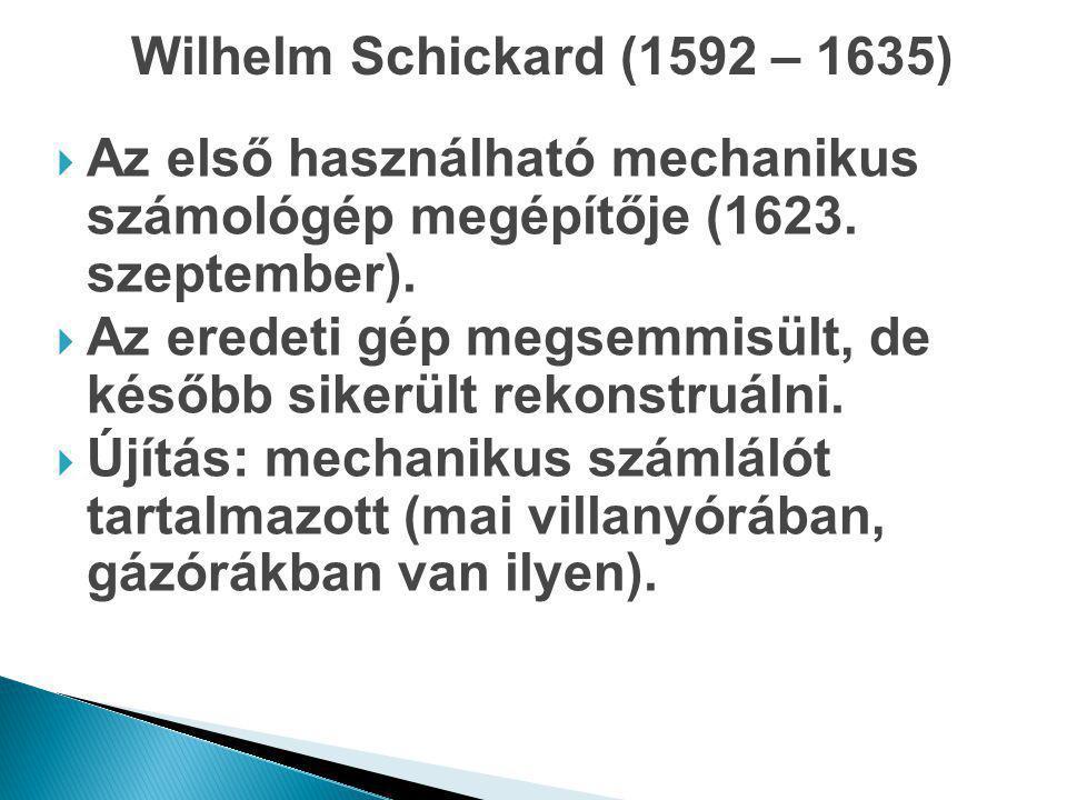  Az első használható mechanikus számológép megépítője (1623. szeptember).  Az eredeti gép megsemmisült, de később sikerült rekonstruálni.  Újítás: