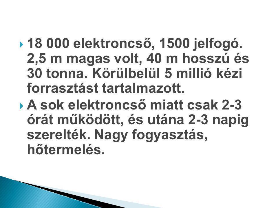  18 000 elektroncső, 1500 jelfogó. 2,5 m magas volt, 40 m hosszú és 30 tonna. Körülbelül 5 millió kézi forrasztást tartalmazott.  A sok elektroncső