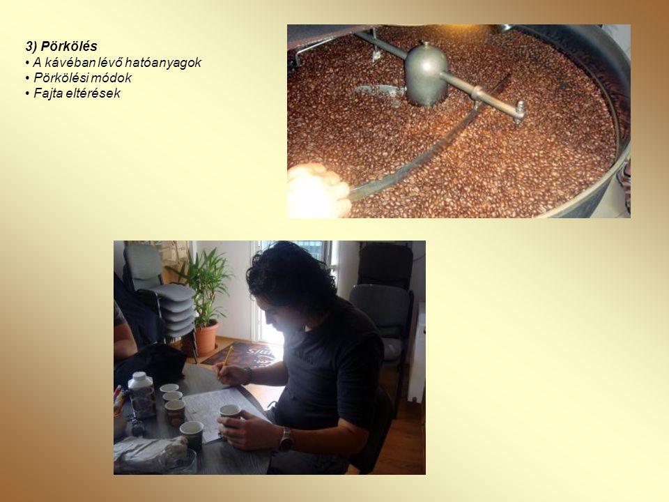 4) Kávékészítés, • Őrlés, őrlőgépek • Kávékészítés, kávéfőző-gépek (török kávétól a filteres kávéig) • Kávé italok készítése (cappuccino, latte, ristretto, melange, machiato…) • A kávé felszolgálása
