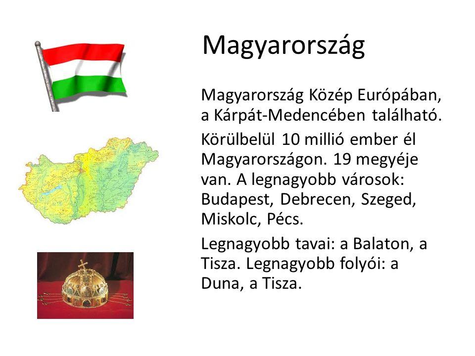 Magyarország Magyarország Közép Európában, a Kárpát-Medencében található. Körülbelül 10 millió ember él Magyarországon. 19 megyéje van. A legnagyobb v