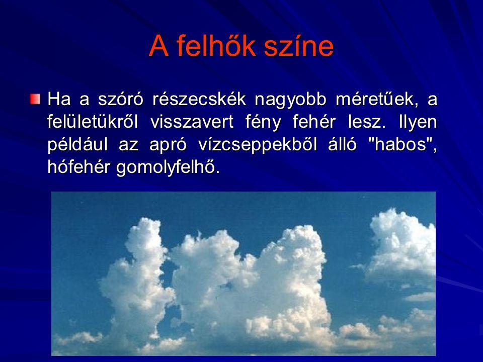 A felhők színe Ha a szóró részecskék nagyobb méretűek, a felületükről visszavert fény fehér lesz. Ilyen például az apró vízcseppekből álló