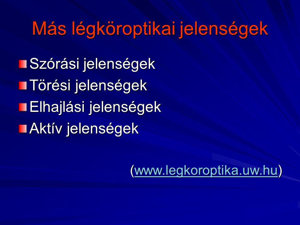 Más légköroptikai jelenségek Szórási jelenségek Törési jelenségek Elhajlási jelenségek Aktív jelenségek (www.legkoroptika.uw.hu) www.legkoroptika.uw.h