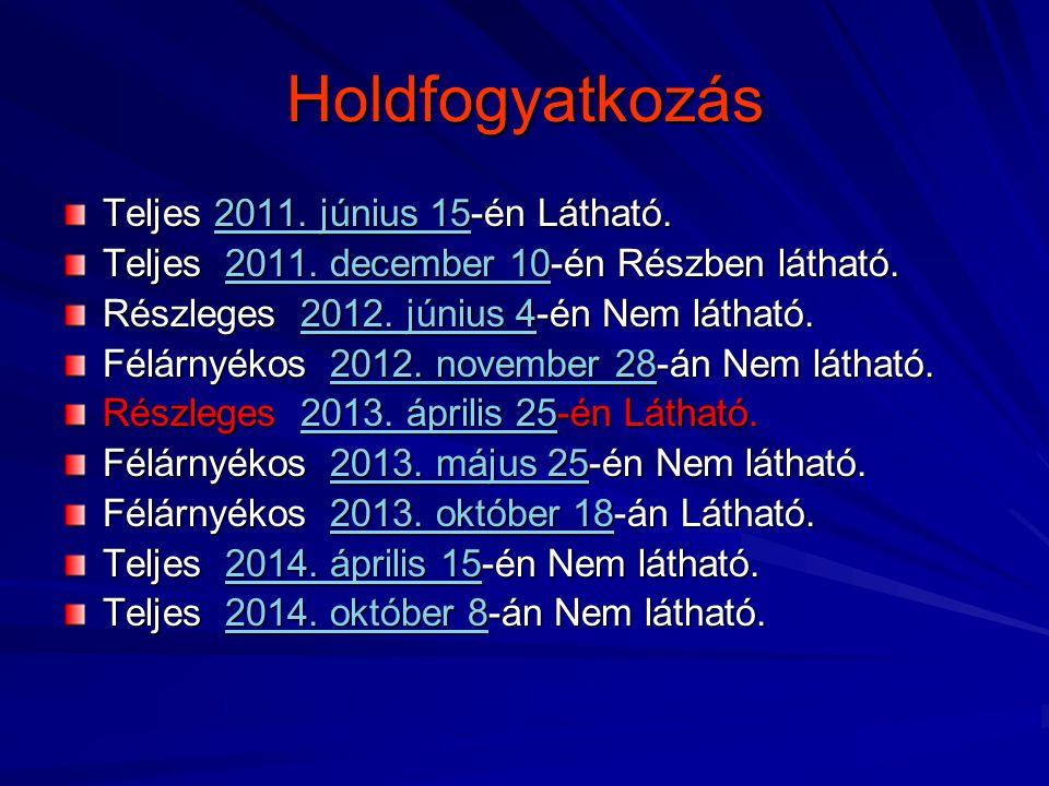 Holdfogyatkozás Teljes 2011. június 15-én Látható. 2011. június 152011. június 15 Teljes 2011. december 10-én Részben látható. 2011. december 102011.